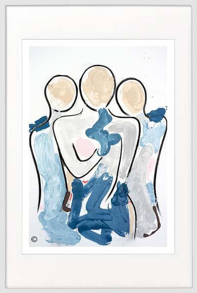 modern print mother children by sarah jane artist titled bodyline xi in white frame