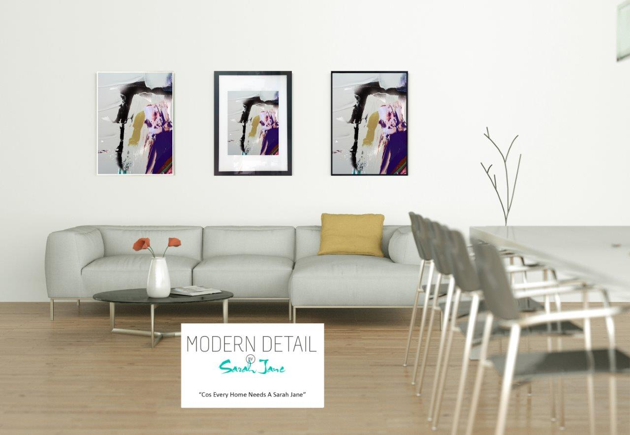 Modern Print on Glass By Sarah Jane with choice of border - Colour me Happy XVId
