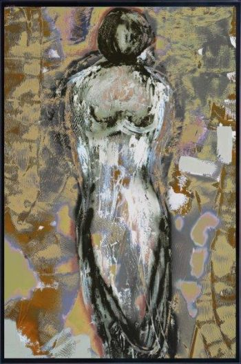 Modern Print on Glass in metallic tones of a woman By Adelaide Artist Sarah Jane with Thin Black Border - Anonymous XXId