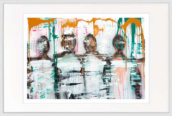 modern print people standing together by sarah jane artist titled united we stand i in white frame