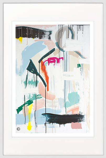 modern print soft colours by sarah jane artist titled reengage ii in white frame