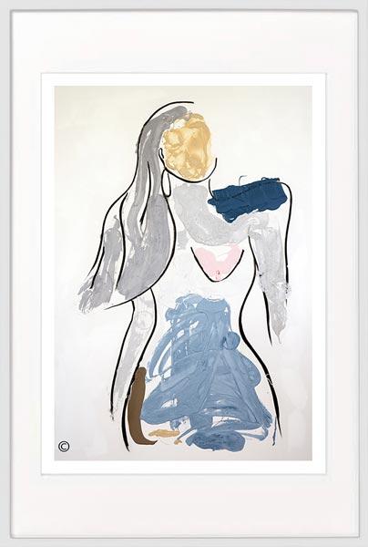 modern print confident woman by sarah jane artist titled bodyline v in a white frame