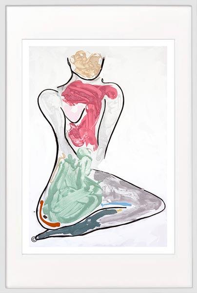 modern print woman kneeling colourful by sarah jane artist titled bodyline bold iii in white frame