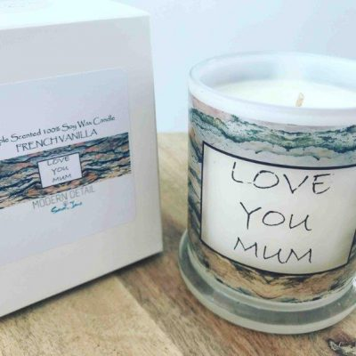 Mothers Day Candle with neutral modern artwork - Tree of Life