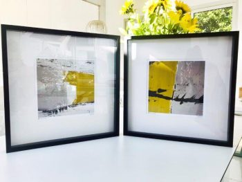 Mustard Abstract Prints in Frame - Cozzie Va and Cozzie VIIb By Modern Artist Sarah Jane