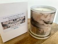 Natural-Soy-Candle-from-Adelaide-Business-Modern-Detail-By-Sarah-Jane-with-artwork-called-Feathers-Lb