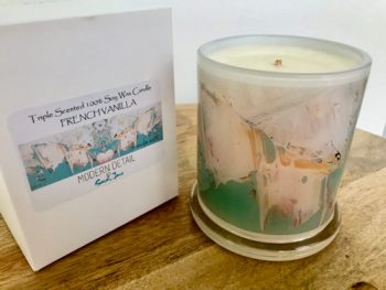 Natural-Soy-Candle-from-Adelaide-business-Modern-Detail-By-Sarah-Jane-with-artwork-called-Feathers-LIIIc
