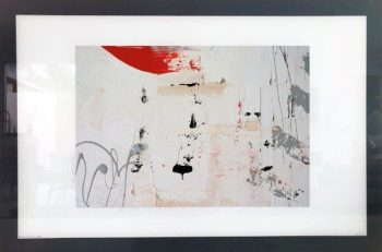 Neutral Print on Glass of Modern Art with a hint of orange By Sarah Jane with White and Black Border - On the MOve XXI