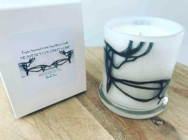 New York Style Soy Candle with Back and White Artwork By Artist Sarah Jane - Linear LI