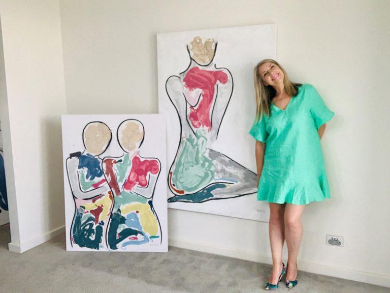 original figurative paintings colourful by sarah jane artist - bodyline bold i and bodyline bold iii