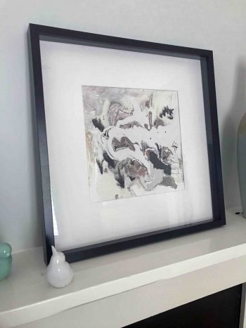 Original Painting by Artist Sarah Jane called Nature I in Black Shadowbox Frame - MODERN DETAIL BY SARAH JANE
