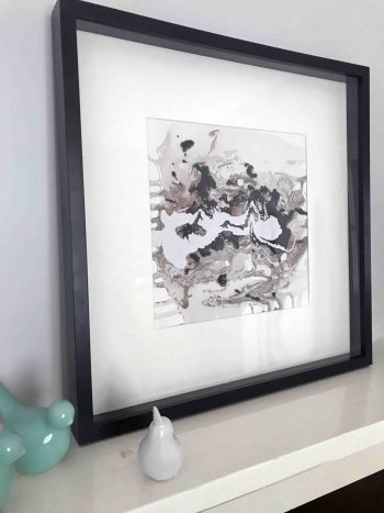 Original Painting by Artist Sarah Jane called Nature II in Black Shadowbox Frame - MODERN DETAIL BY SARAH JANE