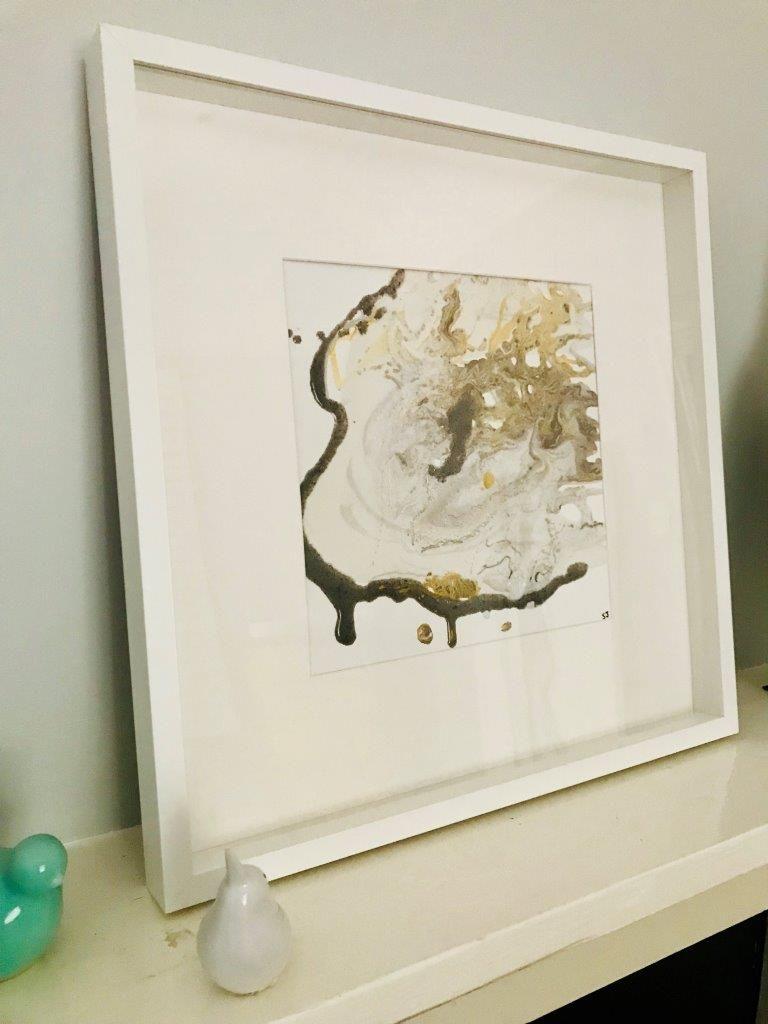 Original Painting by Artist Sarah Jane called Nature III in White Shadowbox Frame - MODERN DETAIL BY SARAH JANE