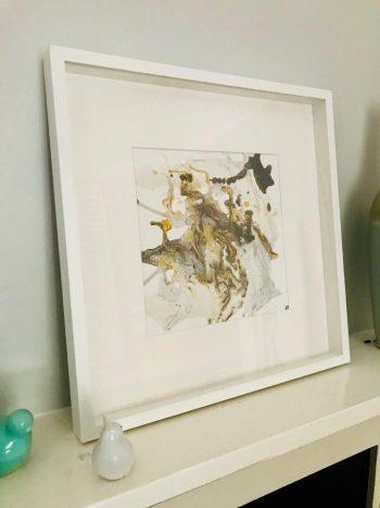 Original Painting by Artist Sarah Jane called Nature IV in White Shadowbox Frame - MODERN DETAIL BY SARAH JANE