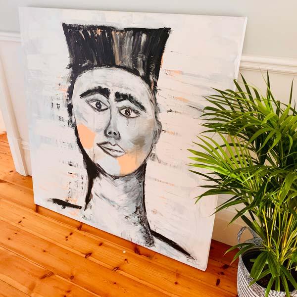Painting-Warrior-young-man-face-sarah-jane-artist