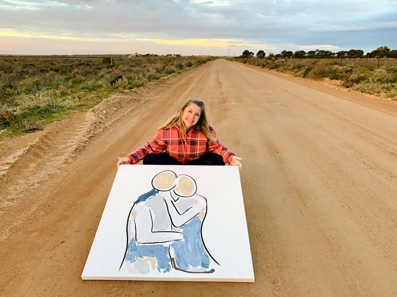 painting on a dirt road in outback australia titled bodyline viii by artist sarah jane