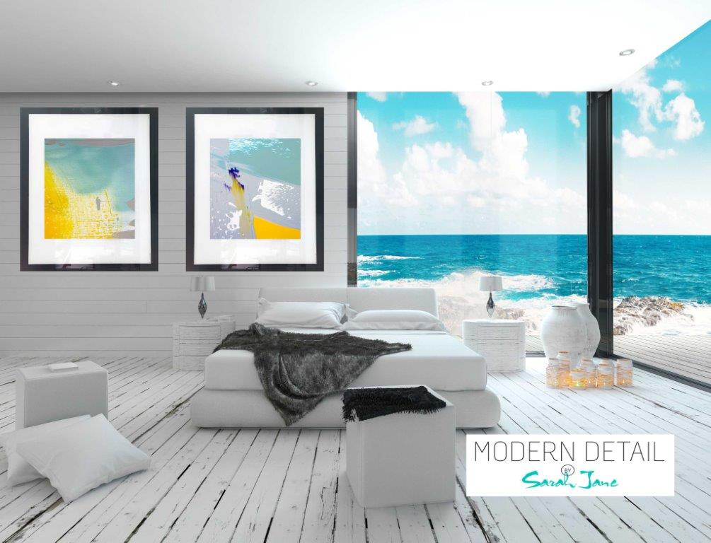 Pair of Abstract Art Prints on Glass for a beach house - Colour me Happy VIId and Colour me Happy VI