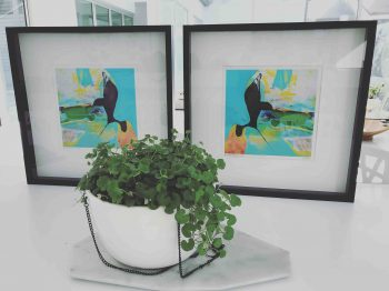 Pair of Prints by Artist Sarah Jane with Black Frame and Glass - Unconditional Love LIV and Unconditional Love LIV inverted