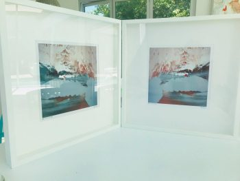 Pair of Symmetrical Abstract Prints By Sarah Jane in Shadowbox Frame- Freedom IIIa