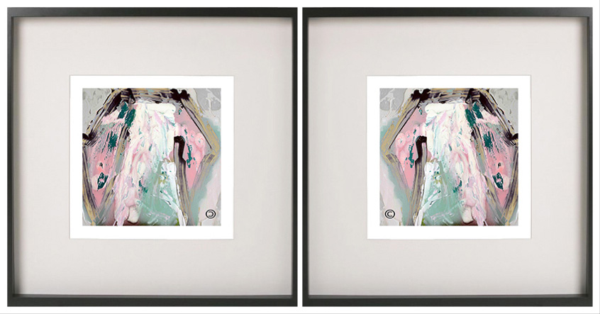 Pair of Symmetrical Abstract Prints with feminine colour tones in a Black Frame - One of Us VIc By Aussie Artist Sarah Jane