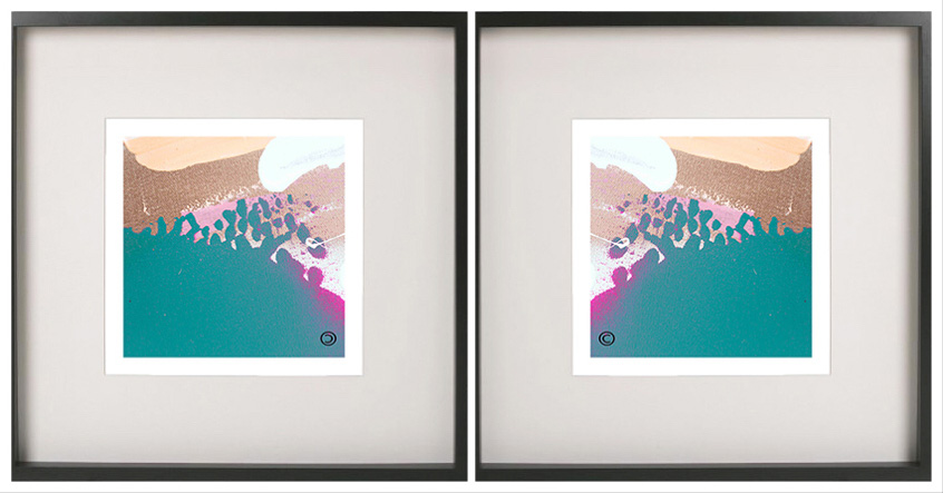 Pair of Symmetrical Abstract Prints with fresh colour tones in a Black Frame - Being Watched VIIIa By Aussie Artist Sarah Jane