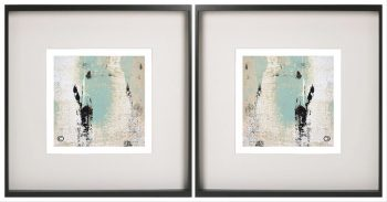 Pair of Symmetrical Abstract Prints with mint tones in a Black Frame - Boardwalk IIa By Aussie Artist Sarah Jane
