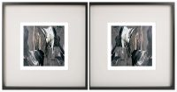 Pair of Symmetrical Abstract Prints with neutral tones in a Black Frame - Tenderness XI By Aussie Artist Sarah Jane