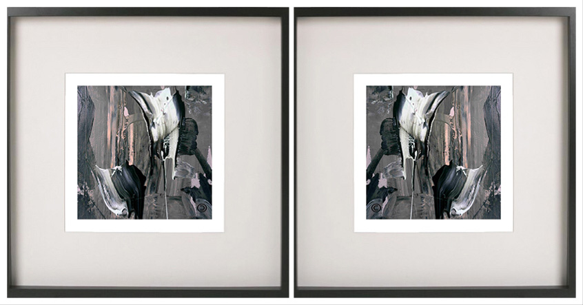 Pair of symmetrical abstract prints with neutral tones in a black frame tenderness xi by