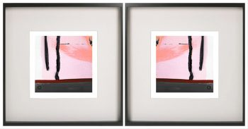 Pair of Symmetrical Abstract Prints with pink tones in a Black Frame - Hope Va By Aussie Artist Sarah Jane