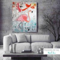 Pink Flamingo Painting by Artist Sarah Jane called Feathers - MODERN DETAIL BY SARAH JANE