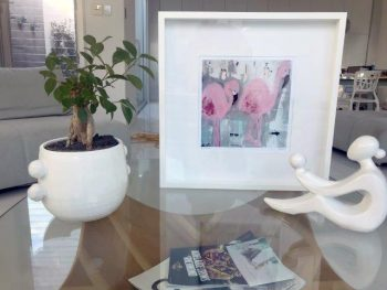 Pink Flamingo Print in Frame - One the Move II By Sara Jane Modern Artist