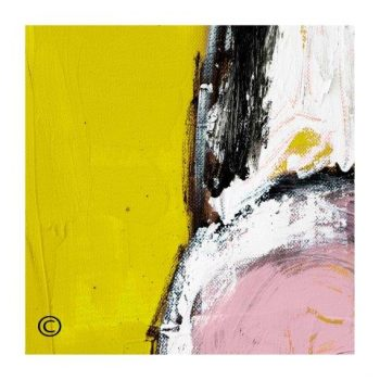 Pink and Yellow modern abstract art print surrounded by a small white border and called Cozzie VIIId - Modern Detail By Sarah Jane