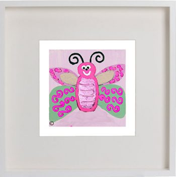 Print of a Butterfly in a white frame for a kids bedroom - Butterfly Ie By Artist Sarah Jane