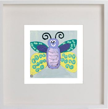 Print of a butterfly in a white frame for a kids bedroom - Butterfly Ig By Artist Sarah Jane