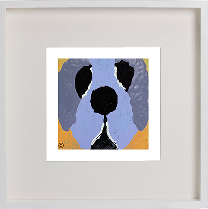 Print of a dog in a white frame for a kids bedroom - Woofa Ig By Artist Sarah Jane