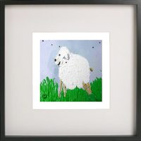 Print of a lamb in a black frame for a boys bedroom - Lambie Id By Sarah Jane