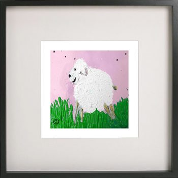 Print of a lamb in a black frame for a girls bedroom - Lambie Ib By Sarah Jane