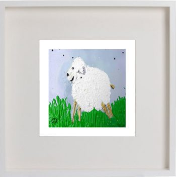 Print of a lamb in a white frame for a boys bedroom - Lambie Id By Sarah Jane