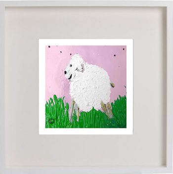Print of a lamb in a white frame for a girls bedroom - Lambie Ib By Artist Sarah Jane