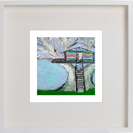 Print of a treehouse in a white frame for a kids bedroom - Magical Treehouse IIb By Artist Sarah Jane