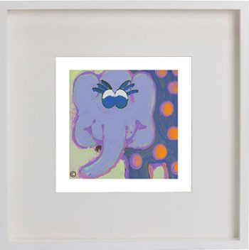 Print of an elephant in a white frame for a kids bedroom - Ellie Ic By Artist Sarah Jane