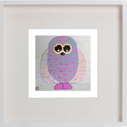 Print of an owl in a white frame for a kids bedroom - Owlie Ia By Artist Sarah Jane