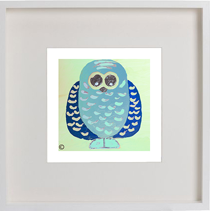 Print of an owl in a white frame for a kids bedroom - Owlie If By Artist Sarah Jane
