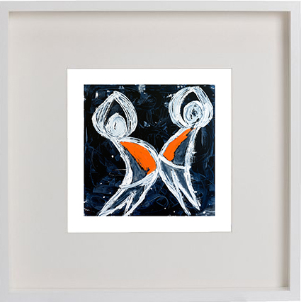 Print of children playing in a white frame for a kids bedroom - Playful Pair I By Artist Sarah Jane