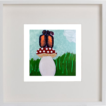 Print of children sitting on a mushroom in a white frame for a kids bedroom - Magical Fields I By Artist Sarah Jane