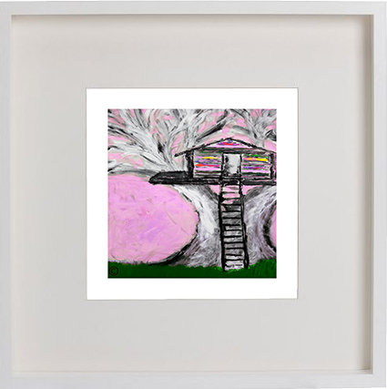 Print of treehouse in a white frame for a kids bedroom - Magical Treehouse IIe By Artist Sarah Jane
