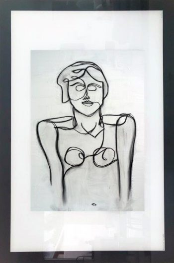 Print on Glass By Adelaide Artist Sarah Jane with White and Black Border - Linear II