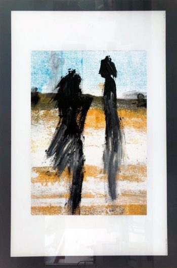 Print on Glass in primary colours By Adelaide Artist Sarah Jane with White and Black Border - Boardwalk V