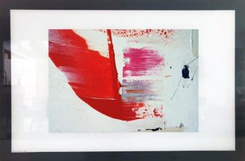 Print on Glass of Colourful Modern Art By Sarah Jane with White and Black Border - On the Move XX