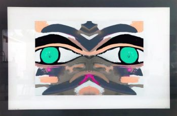 Print on Glass of Modern Art By Sarah Jane with White and Black Border - Being Watched Ifff